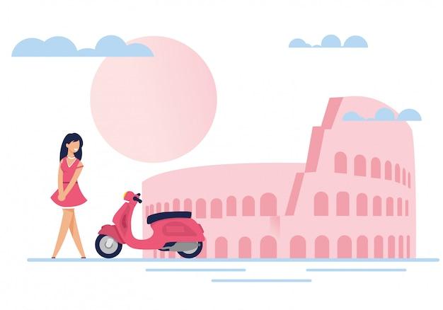 Dame, bromfiets, romantische scène met beroemde attractie