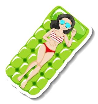 Dame die op zwemmende rubberen float cartoon sticker legt