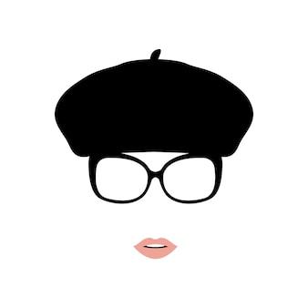 Dame in baret en bril