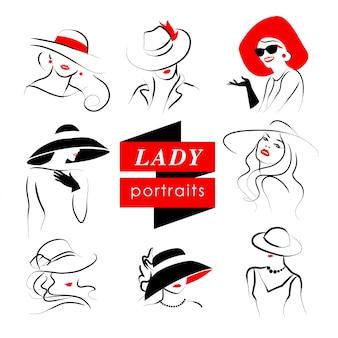 Dame in de collectie van het hoedenportret. vector illustratie.