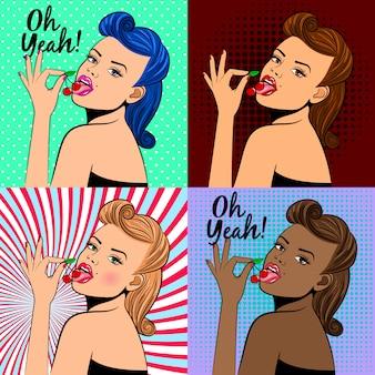 Dame in pop-artstijl met kers