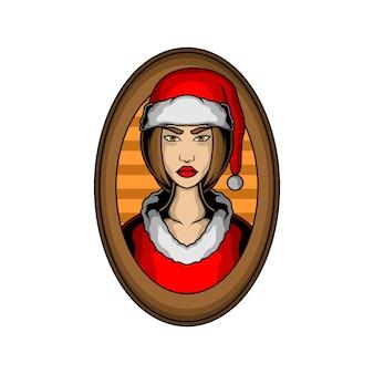 Dame kerst illustratie