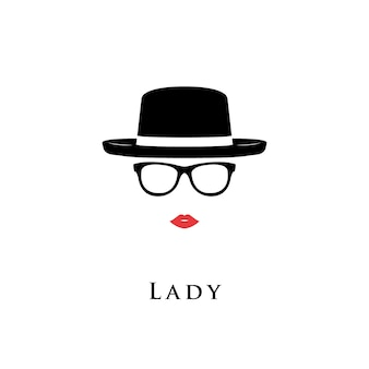 Dameportret van glazen en hoed.