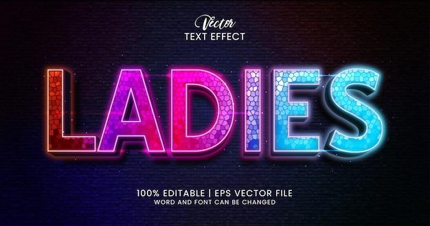 Dames bewerkbaar teksteffect, kleurrijke en getextureerde tekststijl