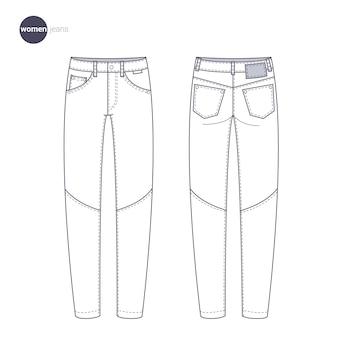 Dames jeans broek en broek., kleren dunne lijnstijl.