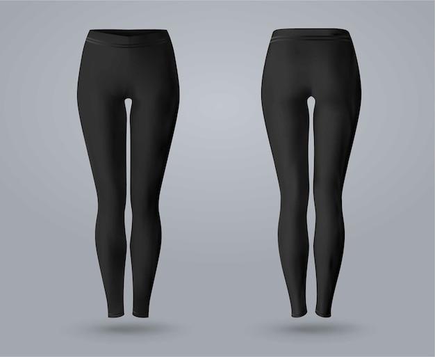 Dames legging mockup in voor- en achteraanzicht, geïsoleerd op een grijze achtergrond. 3d realistische vectorillustratie.