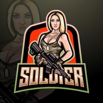 Dames soldaat esport logo. mascotte ontwerp