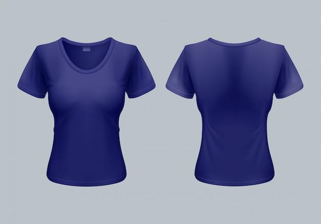 Dames t-shirt sjabloon achter- en vooraanzicht in donkerblauw