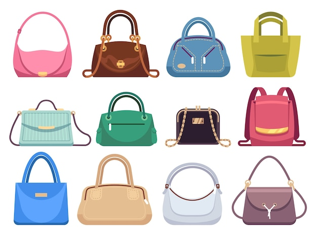 Dames tassen. damestassen met modeaccessoires. leren dames clutch en portemonnee vintage damesstijl moderne kofferset