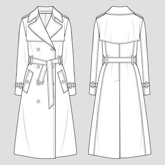 Dames trenchcoat met dubbele rij knopen. mode schets. platte technische tekening. vector illustratie.
