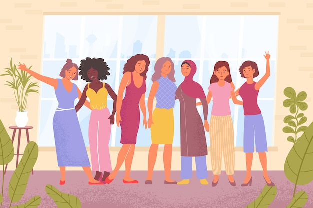 Dames van verschillende nationaliteiten die plat knuffelen