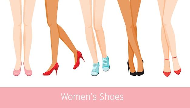 Damesbenen met verschillende huid en soorten schoenen, staande vrouwen