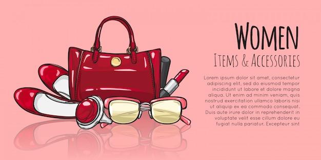 Damesitems en accessoires. rode vrouwelijke objecten