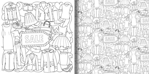 Dameskleding sale print en naadloze patroonset