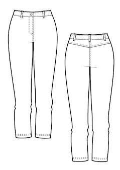 Dameskleding spijkerbroek. vectorsjablonen voor en achter voor modeontwerp. geïsoleerd op een witte achtergrond.