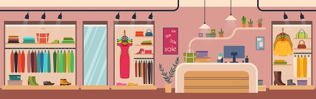 Dameskledingwinkel modeboetiek interieur dameskleding en accessoires detailhandel kledingwinkel