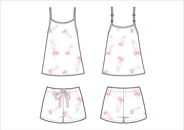Damesmode pyjama. witte short en singlet met fearther print.