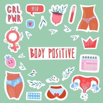 Damesstickers met baarmoeder, kalender, menstruatiecup en lichaamspositieve elementen en inscripties in handgetekende stijl