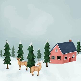 Damherten in een met sneeuw bedekte weide