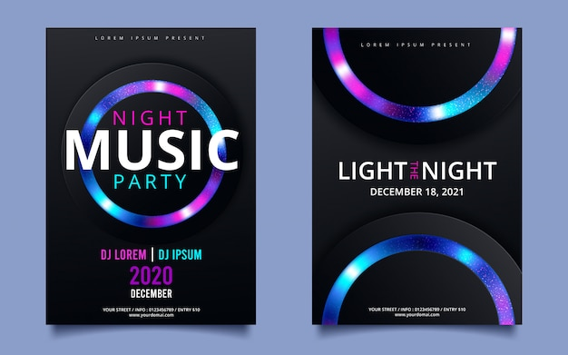 Dance club night zomer partij flyer brochure lay-out sjabloon. club party banner