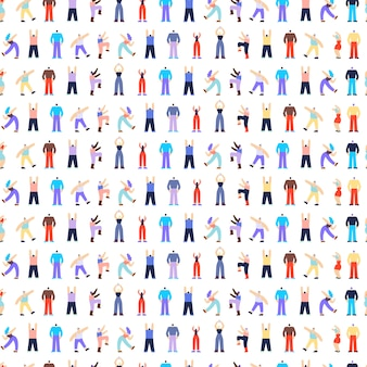 Dancing disco people characters seamless pattern