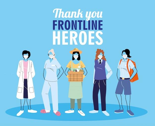 Dank aan de eerstelijnswerkers. diverse mensen uit verschillende beroepen dragen beschermende maskers.