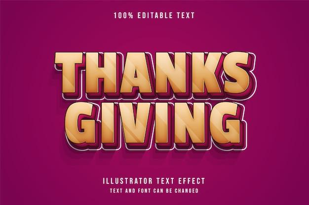 Dank geven, bewerkbaar teksteffect gele gradatie roze schaduw tekststijl