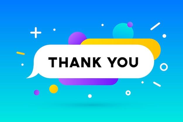 Dank je. banner, tekstballon, poster en stickerconcept, geometrische memphis-stijl met tekst bedankt.