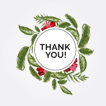 Dank je! met bloemen en bladeren
