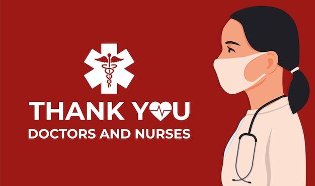 Dank je wel dokter en verpleegsters en medisch personeel. jaarlijks gevierd in de verenigde staten. medisch concept.
