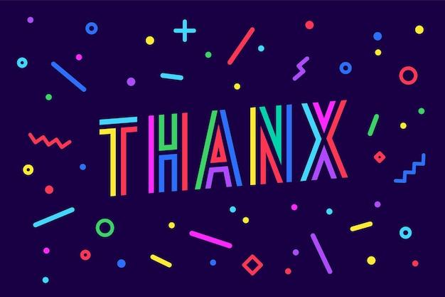 Dank je. wenskaart, spandoek, poster en sticker concept, memphis geometrische stijl met tekst
