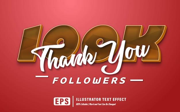 Dank u 100k teksteffect - bewerkbaar