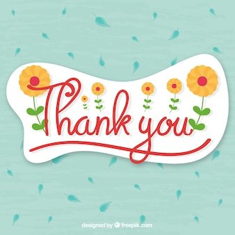 Dank u achtergrond met bladeren en bloemen