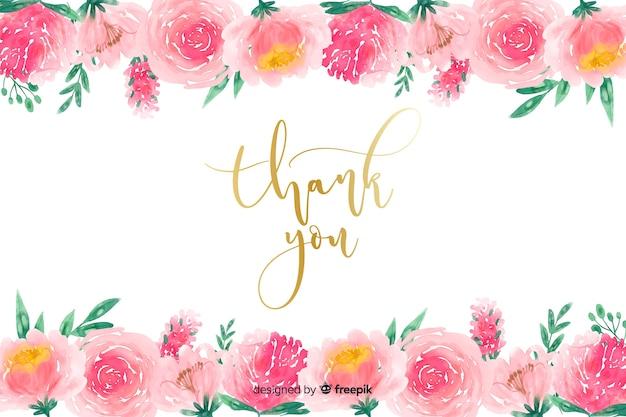 Dank u achtergrond met florale decoratie
