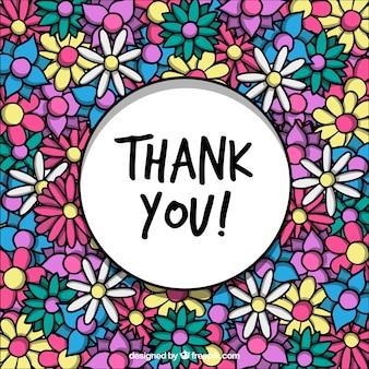 Dank u achtergrond met hand getekende kleurrijke bloemen