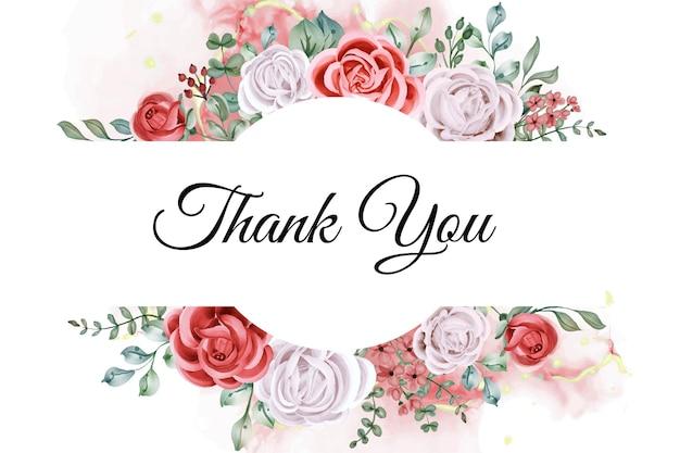 Dank u aquarel roos sjabloon kaart