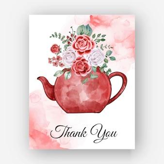 Dank u aquarel rose theepot sjabloon kaart