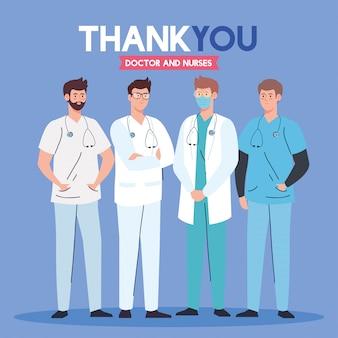 Dank u arts en verpleegsters die in ziekenhuizen werken, teamman arts die het coronavirus covid 19 illustratieontwerp bestrijdt