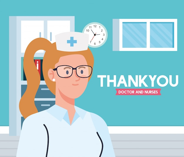 Dank u arts en verpleegsters die in ziekenhuizen werken, verpleegster in de spreekkamer die het coronavirus covid 19 illustratieontwerp bestrijdt