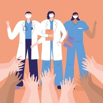 Dank u artsen en verpleegkundigen, artsen en verpleegster, groet met opgeheven handen