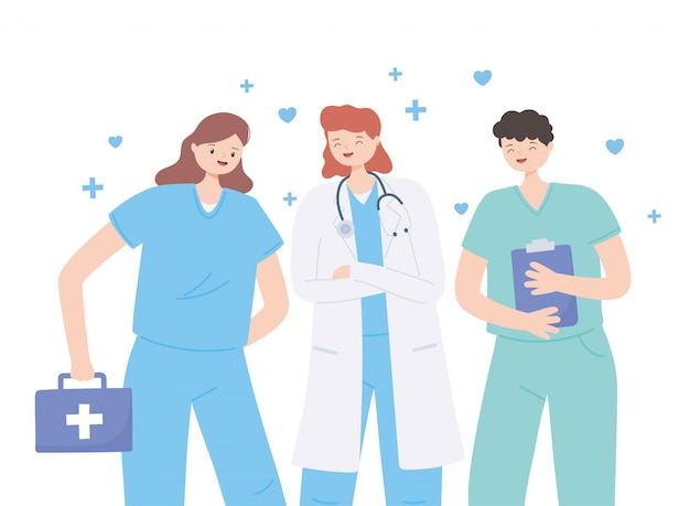 Dank u artsen en verpleegsters, medische mensen met een stethoscoop en eerste hulp kit