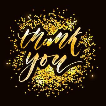 Dank u belettering kalligrafie vector goud