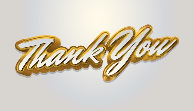 Dank u brief tekst in wit en goud geïsoleerd op een witte achtergrond