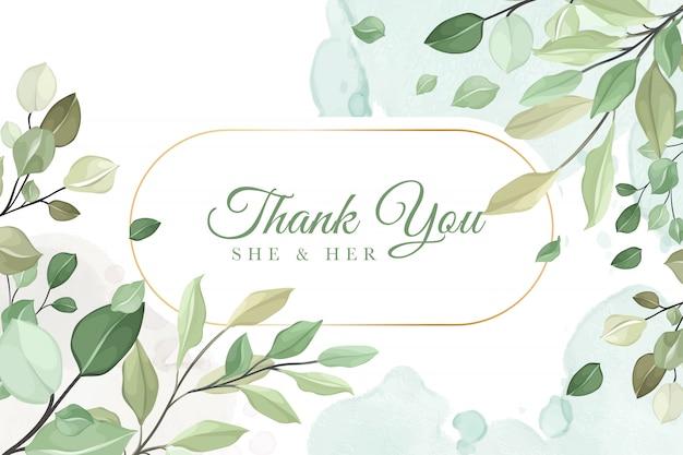 Dank u bruiloft uitnodigingskaart in groene bladeren