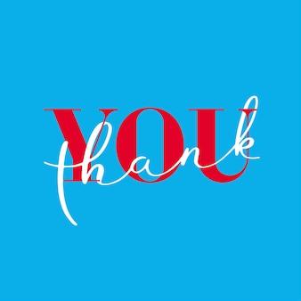 Dank u, dank u belettering op blauwe achtergrond.