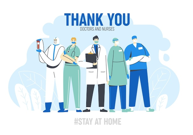 Dank u de wenskaart van artsen en verpleegkundigen.