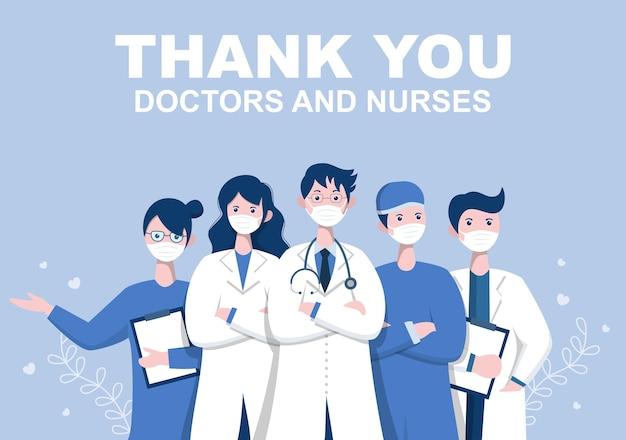 Dank u dokter en verpleegster thanksgiving