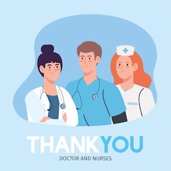 Dank u dokter en verpleegsters die in ziekenhuizen werken, dokters van het personeel en verpleegster die vechten tegen het coronavirus covid 19 illustratieontwerp