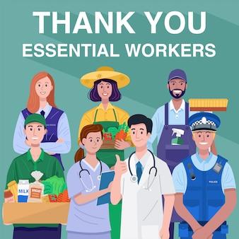 Dank u essentieel werknemersconcept. diverse beroepen mensen. vector