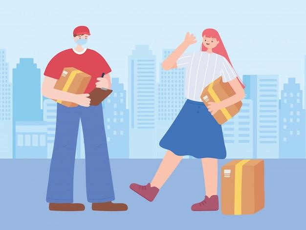 Dank u essentiële arbeiders, bezorger en klant met dozen, het dragen van gezichtsmasker, coronavirus ziekte illustratie